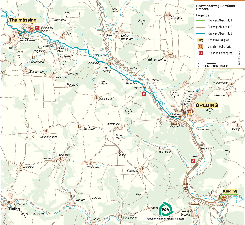 altmühltal radweg karte pdf Vom Altmühltal zum Rothsee | VGN