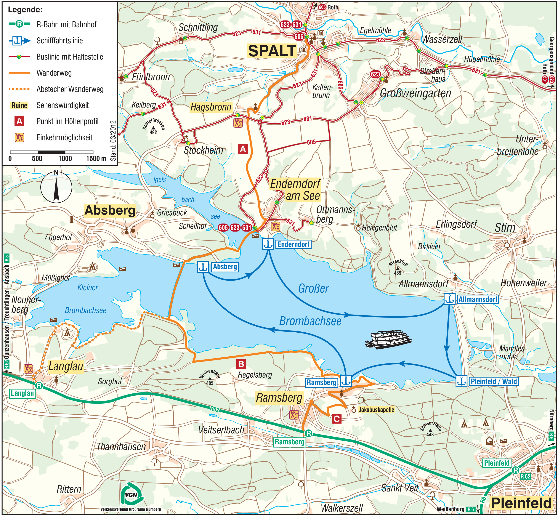 brombachsee karte Übers Spalter Hügelland zum Brombachsee   VGN